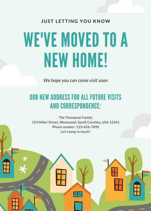 Free, custom printable moving announcement templates  Canva Inside Free Moving House Cards Templates In Free Moving House Cards Templates