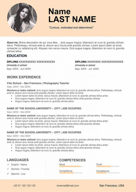 ▷ Free CV Template to Fill Out in Word Format  CVs Downloads With Resume Templates Word 2007 Inside Resume Templates Word 2007