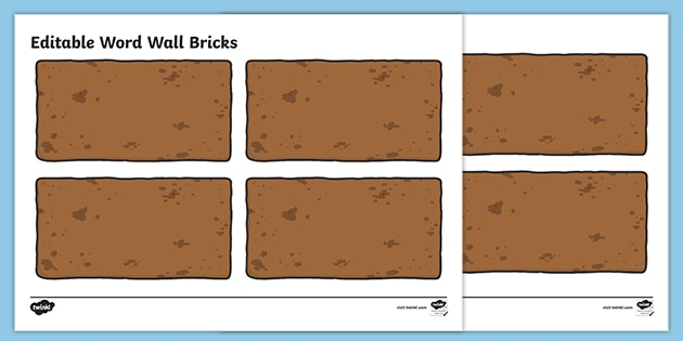 FREE! - Editable Word Wall Bricks (Large) Throughout Blank Word Wall Template Free For Blank Word Wall Template Free