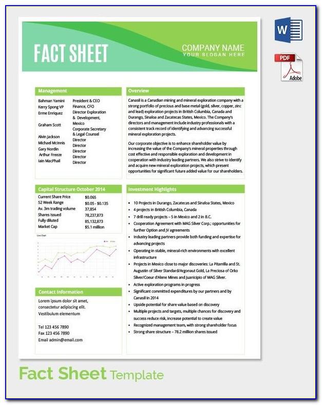 Free Fact Sheet Template Microsoft Word  vincegray11 In Fact Sheet Template Word For Fact Sheet Template Word