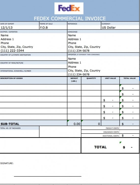 Free FedEx Commercial Invoice Template  PDF  WORD  EXCEL Throughout Fedex Proforma Invoice Template Intended For Fedex Proforma Invoice Template