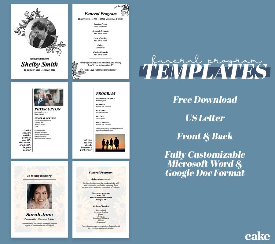 FREE] Funeral Program Templates for Word & Google Docs  Cake Blog In Memorial Brochure Template With Regard To Memorial Brochure Template