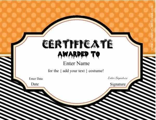 Free Halloween Costume Awards  Customize online  Instant Download Regarding Halloween Certificate Template For Halloween Certificate Template