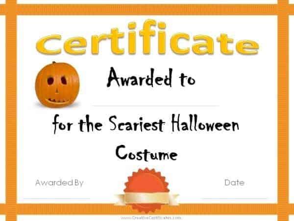 Free Halloween Costume Awards  Customize Online  Instant Download Regarding Halloween Costume Certificate Template