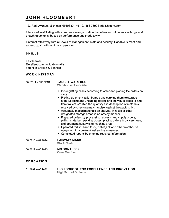 FREE High School Student Resume Examples, Guide and Tips  Hloom Throughout High Resume Templates What To Look For Inside High Resume Templates What To Look For