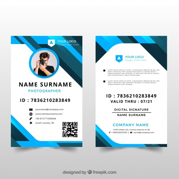 Free Id Card Template With Flat Design Vector - +11 Free SVG  Intended For Photographer Id Card Template Regarding Photographer Id Card Template
