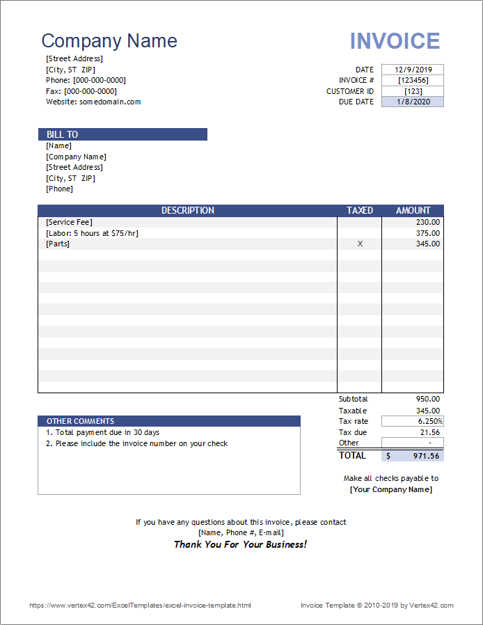 Free Invoice Template for Excel Intended For Invoice Template Word 2010 Pertaining To Invoice Template Word 2010