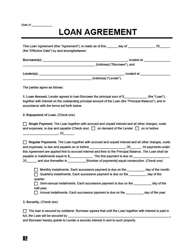 Free Loan Agreement Template: Simple, Personal, Employee & Family Throughout Blank Loan Agreement Template Inside Blank Loan Agreement Template