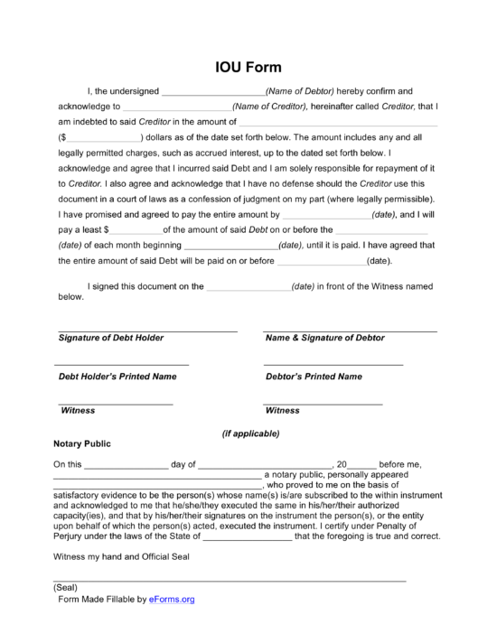 Free Loan Agreement Templates - PDF  Word – eForms Intended For Blank Loan Agreement Template In Blank Loan Agreement Template