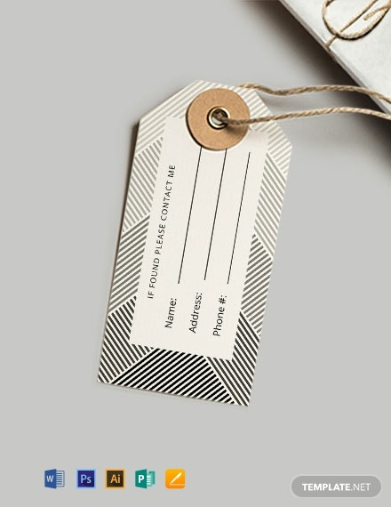 FREE Luggage Tag Template - Word  PSD  Apple Pages  Illustrator  With Luggage Tag Template Word Throughout Luggage Tag Template Word