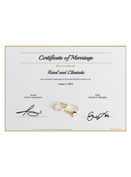 Free Marriage Certificate Template - PDF Templates  JotForm Inside Certificate Of Marriage Template With Regard To Certificate Of Marriage Template