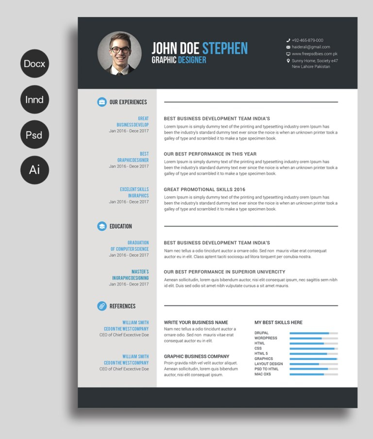 Free Ms.Word Resume and CV Template Within Microsoft Word Resumes Templates