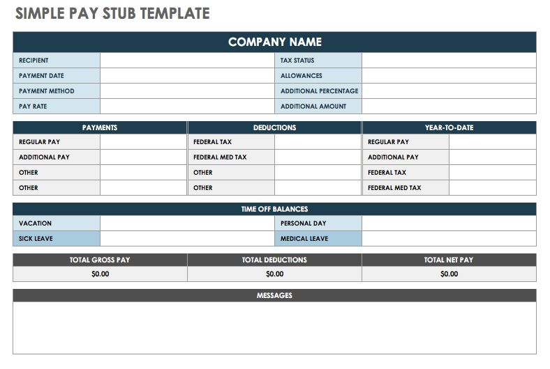 Free Pay Stub Templates   Smartsheet With Pay Stub Template Word Document Within Pay Stub Template Word Document