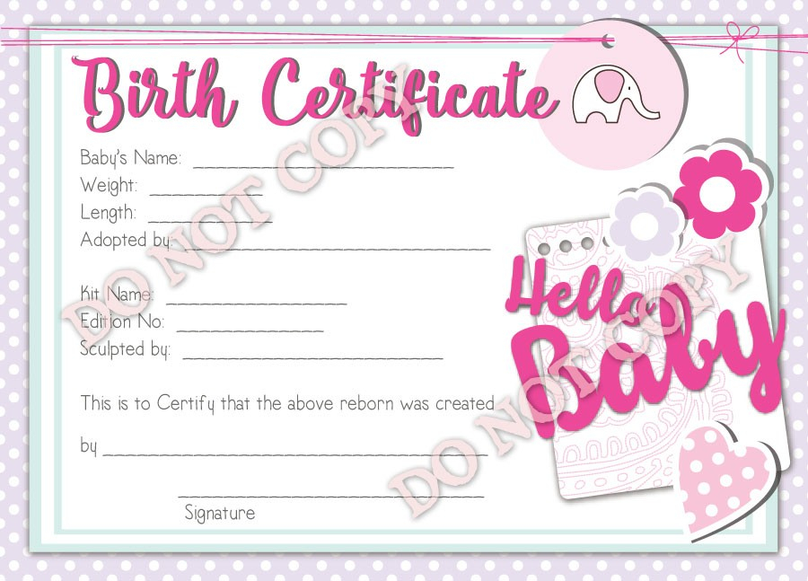 Free Printable Blank Baby Birth Certificates Templates Certificate  Within Baby Doll Birth Certificate Template Intended For Baby Doll Birth Certificate Template