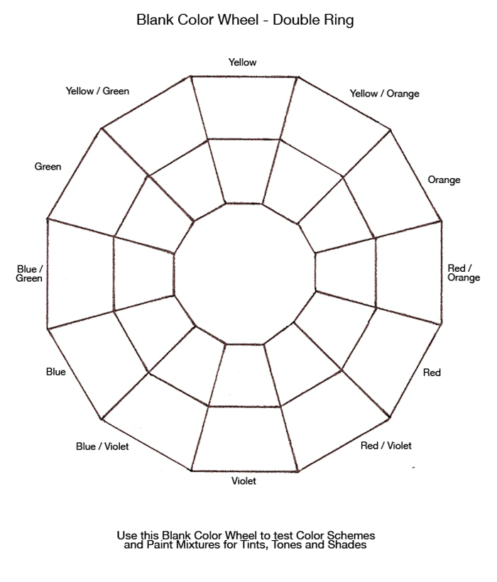Free Printable Color Wheel Charts (Free PDF Downloads) For Blank Color Wheel Template With Regard To Blank Color Wheel Template