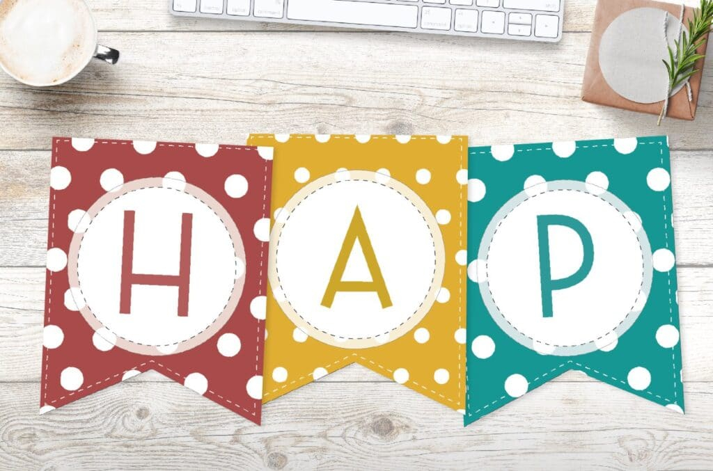 Free Printable Colorful Polka Dot Happy Birthday Banner Letters  With Regard To Free Printable Happy Birthday Banner Templates Inside Free Printable Happy Birthday Banner Templates