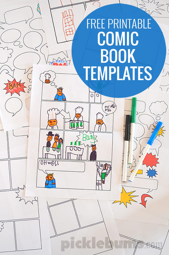 Free Printable Comic Book Templates! - Picklebums In Printable Blank Comic Strip Template For Kids With Printable Blank Comic Strip Template For Kids