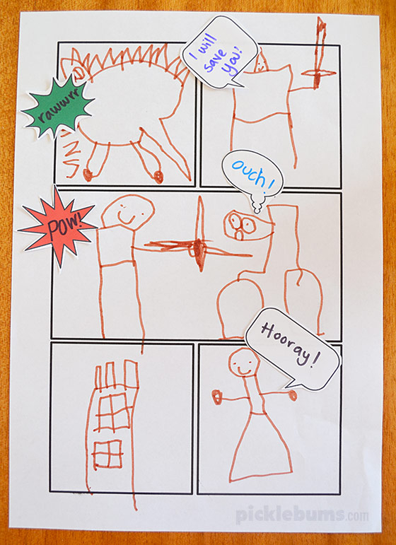 Free Printable Comic Book Templates! - Picklebums Intended For Printable Blank Comic Strip Template For Kids With Printable Blank Comic Strip Template For Kids