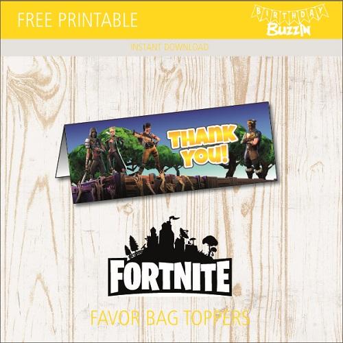 Free Printable Fortnite Favor Bag Toppers  Birthday Buzzin Regarding Goodie Bag Label Template