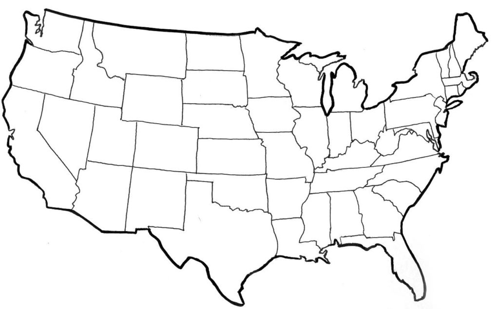 Free Printable Map of the United States For United States Map Template Blank Inside United States Map Template Blank