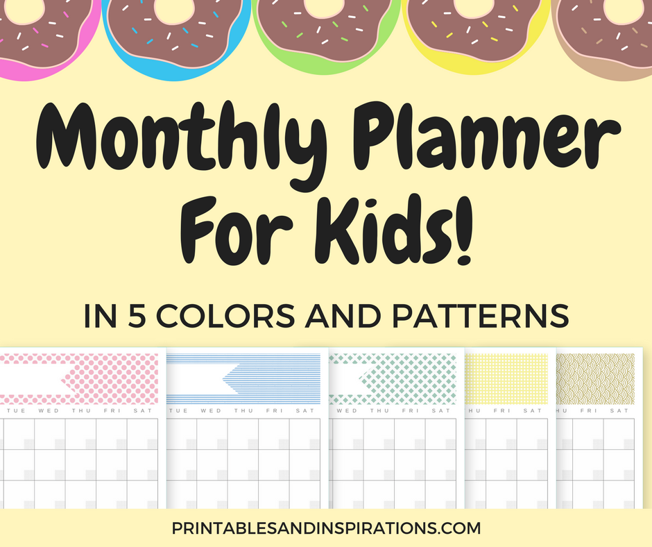 Free Printable Monthly Planner For Kids (And Adults!) - Printables  For Blank Calendar Template For Kids With Blank Calendar Template For Kids
