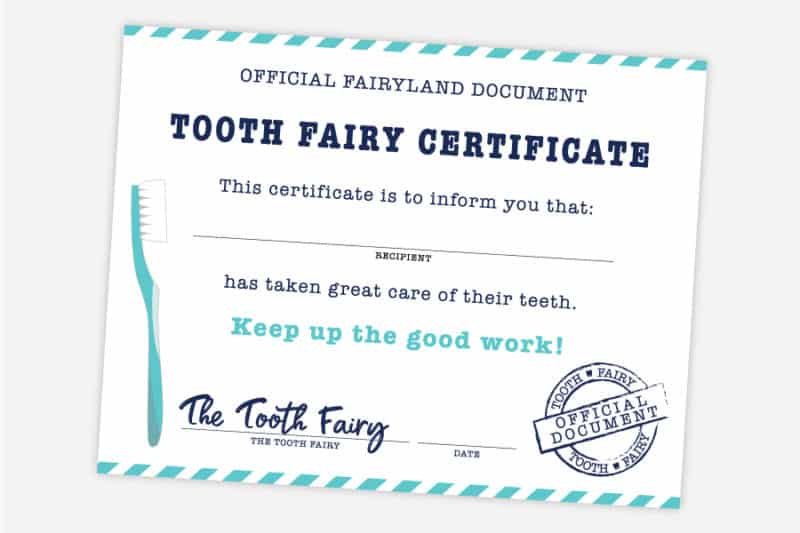 Free Printable Tooth Fairy Certificate, Receipt, Envelope and Door  Inside Tooth Fairy Certificate Template Free In Tooth Fairy Certificate Template Free