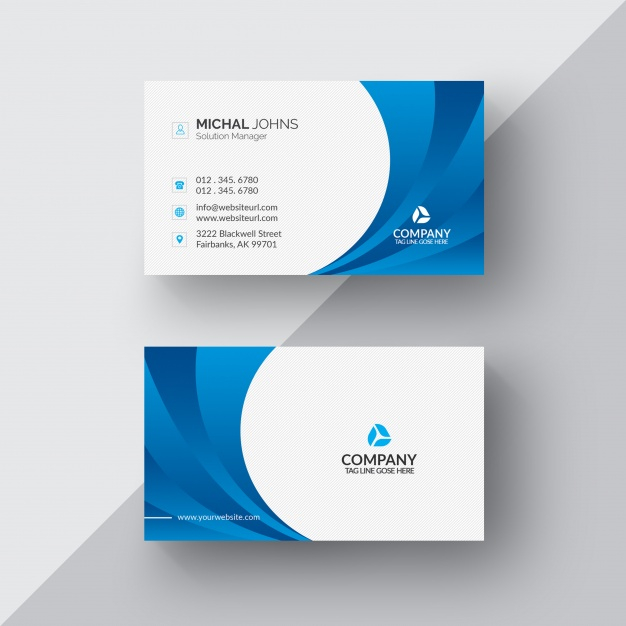 Free PSD  Blue and white business card With Regard To Visiting Card Templates Psd Free Download Intended For Visiting Card Templates Psd Free Download