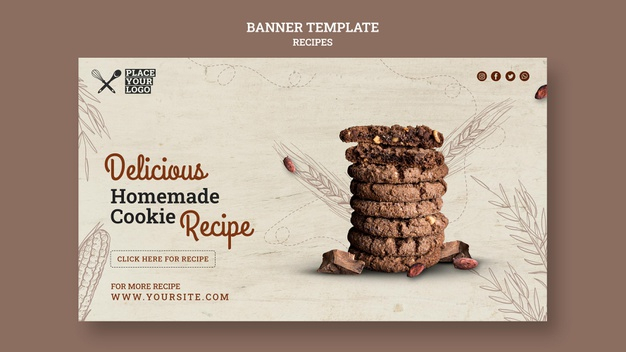 Free PSD  Delicious homemade cookie recipe banner template Regarding Homemade Banner Template Throughout Homemade Banner Template