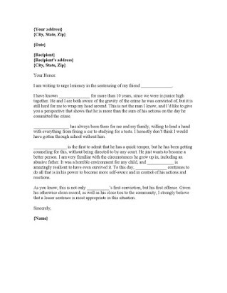 Free sample letters to a judge for leniency With Regard To Letter To Judge Template Pertaining To Letter To Judge Template