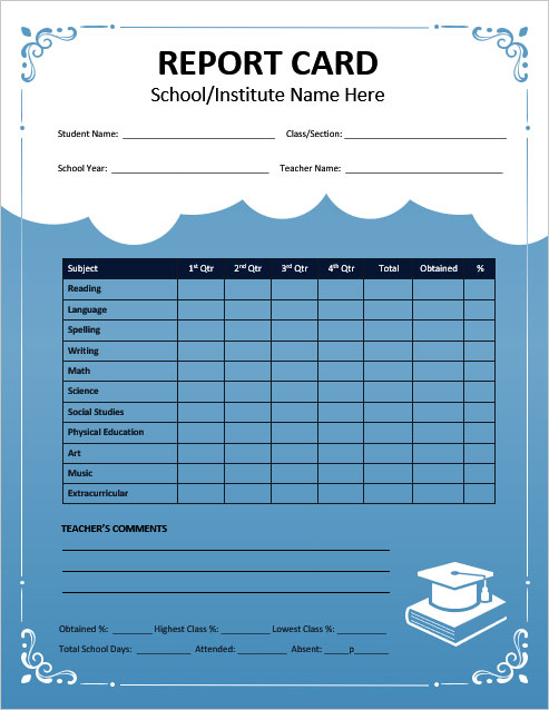 Free School Report Card Templates for MS Word With Regard To Report Card Format Template Pertaining To Report Card Format Template