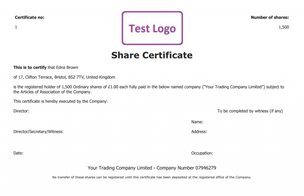 Free share certificate template: create perfect share certificates Pertaining To Share Certificate Template Companies House Within Share Certificate Template Companies House
