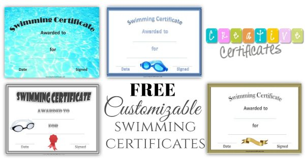 FREE Swimming Certificate Templates  Customize Online With Regard To Free Swimming Certificate Templates With Free Swimming Certificate Templates