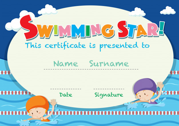 Free Vector  Certificate template with kids swimming With Free Swimming Certificate Templates In Free Swimming Certificate Templates