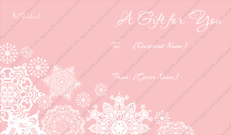 Frosty Pink Christmas Gift Certificate Template With Pink Gift Certificate Template In Pink Gift Certificate Template