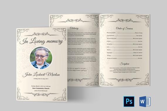 Funeral Program Template  Funeral Program Template Word  Funeral Program  bifold  Printable Memorial program Template  Obituary Program For Memorial Brochure Template