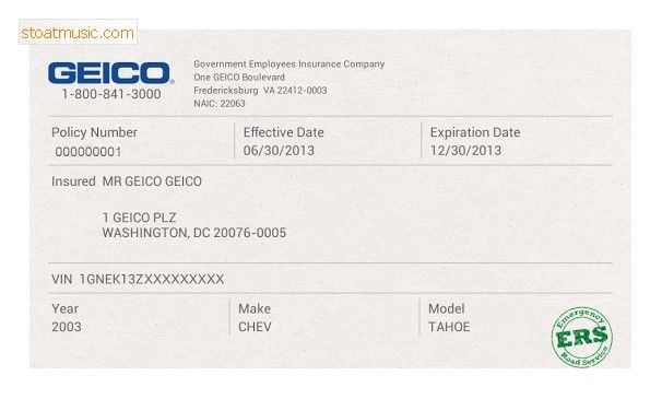 Geico Insurance Pay Bill Pertaining To Free Fake Auto Insurance Card Template Inside Free Fake Auto Insurance Card Template