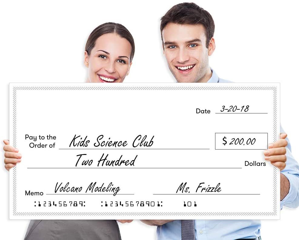 """Giant Fake Award Presentation Check - 11"""" x 11"""" - Large Novelty Endowment  Check for Endowment, Donations, Fundraiser - Big Blank Oversized Raffle  With Large Blank Cheque Template Pertaining To Large Blank Cheque Template"""