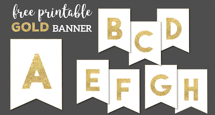 Gold Free Printable Banner Letters  Paper Trail Design In Free Printable Happy Birthday Banner Templates Intended For Free Printable Happy Birthday Banner Templates