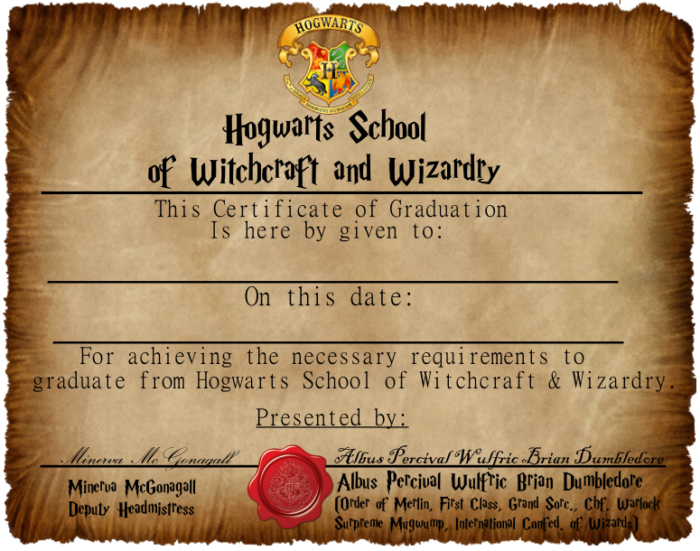 Graduation Certificate 11 by CaptainJackHarkness on DeviantArt With Regard To Harry Potter Certificate Template Within Harry Potter Certificate Template