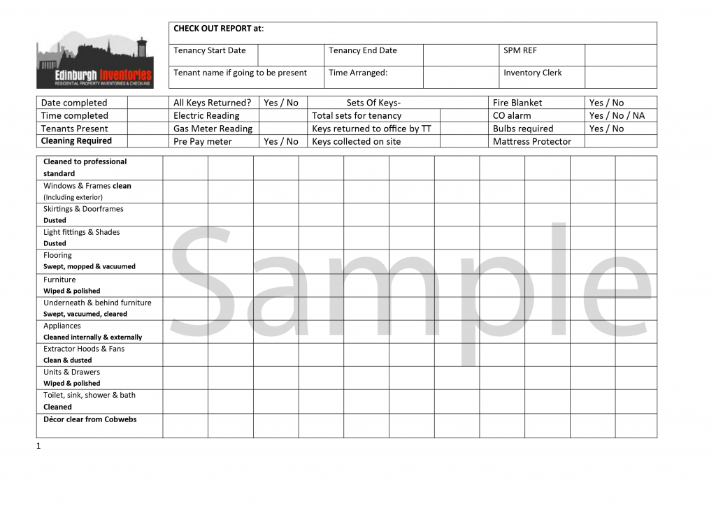 Guidance for Tenants  Edinburgh Inventories Regarding Check Out Report Template With Regard To Check Out Report Template