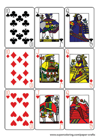 Guyenne Classic Deck Of Playing Cards Printable Template  Free  Inside Free Printable Playing Cards Template