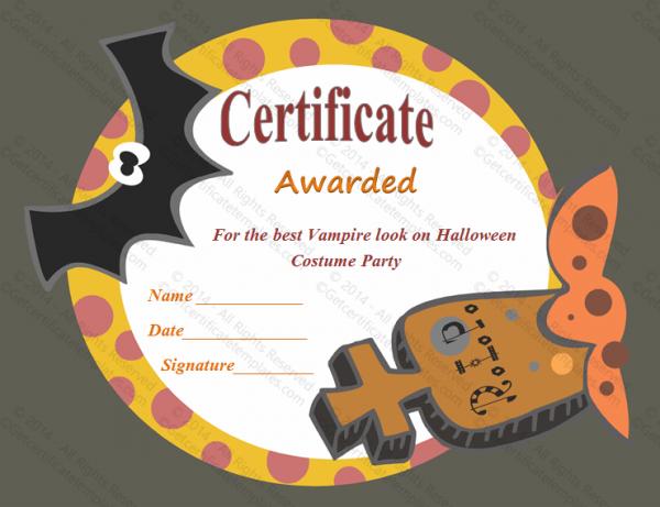 Halloween Award Certificate (Frightening , #11) Inside Halloween Certificate Template