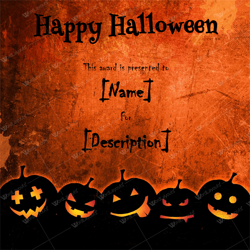 Halloween Award Certificates - 11+ Printables for Microsoft Word Throughout Halloween Certificate Template With Halloween Certificate Template