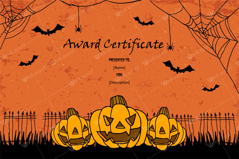 Halloween Award Certificates – 11+ Printables For Microsoft Word Throughout Halloween Costume Certificate Template