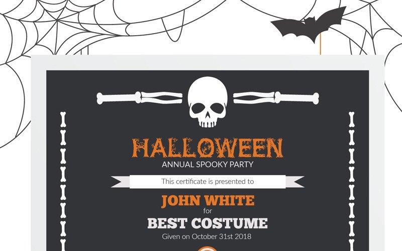 Halloween Best Costume Award Certificate Template For Halloween Certificate Template For Halloween Certificate Template