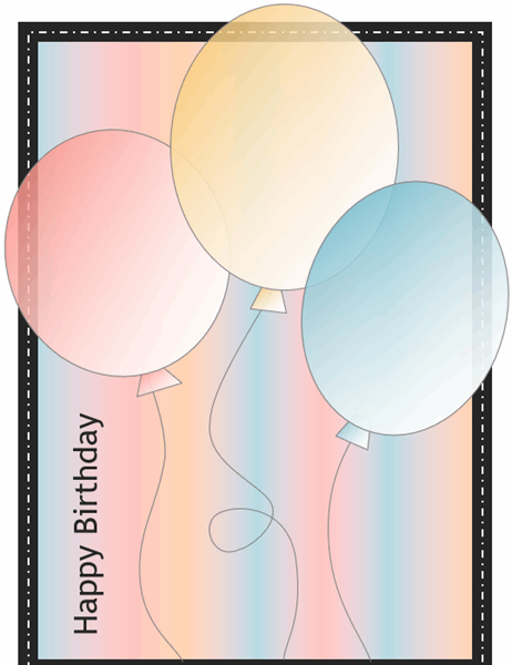 Happy Birthday card (with balloons and stripes, quarter-fold) In Quarter Fold Birthday Card Template With Quarter Fold Birthday Card Template