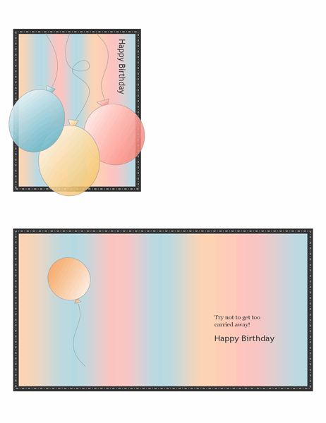 Happy Birthday card (with balloons and stripes, quarter-fold) Regarding Quarter Fold Birthday Card Template Inside Quarter Fold Birthday Card Template