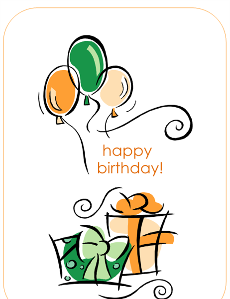 Happy Birthday card (with balloons, quarter-fold) Within Foldable Birthday Card Template Regarding Foldable Birthday Card Template