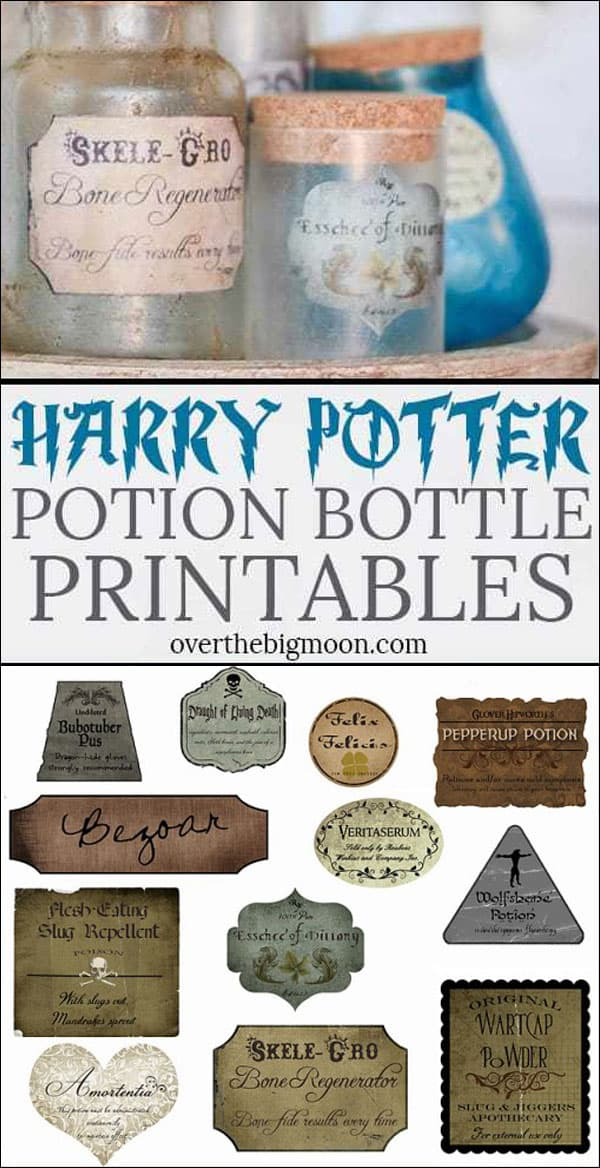 Harry Potter Potion Label Printables - Over the Big Moon Intended For Harry Potter Potion Labels Templates In Harry Potter Potion Labels Templates
