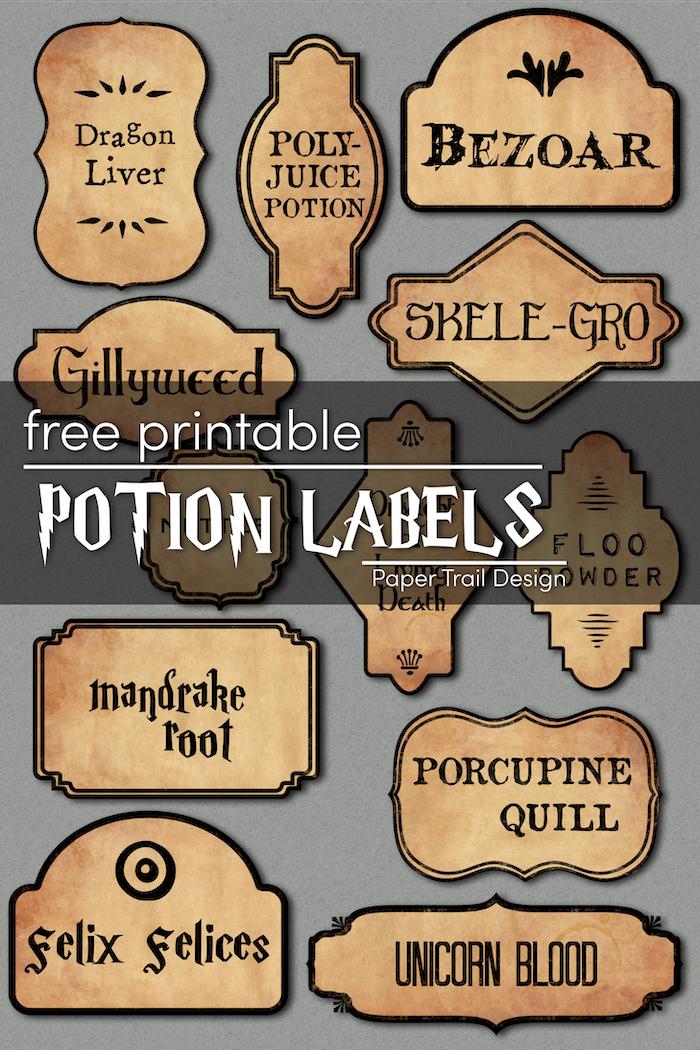 Harry Potter Potion Labels Printable  Paper Trail Design Pertaining To Harry Potter Potion Labels Templates Inside Harry Potter Potion Labels Templates